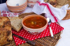 Hungarian traditional food, goulash soup Royalty Free Stock Photography