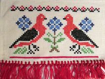 Hungarian vintage Love Birds Cross Stitch Embroidery Stock Image