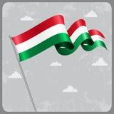 Hungarian wavy flag. Vector illustration. Stock Image