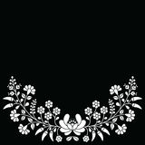 Hungarian white floral folk pattern - Kalocsai embroidery with flowers and paprika Royalty Free Stock Photo