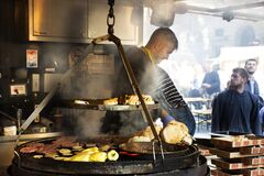 Free Hungarians People Cooking Local Street Food Hungarian Style For Sale Foreigner Travelers In Cafe Restaurant At Old Town In Stock Photography - 186315482