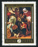 Feast. HUNGARY – CIRCA 1969: stamp printed by Hungary, shows The Feast,  by Jan Steen,  circa 1969 Stock Photography