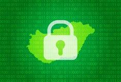 hungary översikt illustration med bakgrund för lås och för binär kod internet som blockerar, virusattack, avskildhet skyddar stock illustrationer