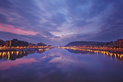 hungary Aftonpanorama av Budapest på solnedgången Fotografering för Bildbyråer
