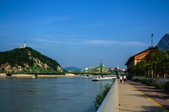 10.06.2019. Hungary, Budapest. Beautiful view since morning of the Danube river and the right coast of the city of Buda. 10.06.2019. Hungary, Budapest stock image