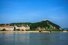 10.06.2019. Hungary, Budapest. Beautiful view since morning of the Danube river and the right coast of the city of Buda. royalty free stock images