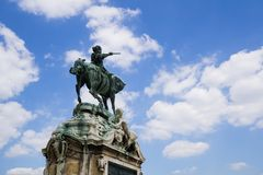 Hungary, Budapest, Buda Castle, statue of Prince Eugene of Savoy. Statue of prince Eugene of Savoy with blue sky and clouds in Budapest, Hungary Royalty Free Stock Image