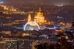 Hungary, Budapest, Cathedral St. Stephen`s - night picture. Photo was taken above the city, near the Liberty Statue Stock Photo