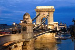 Hungary, Budapest, Chain back. City View stock images