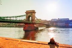 Hungary, budapest, chain bridge Royalty Free Stock Image