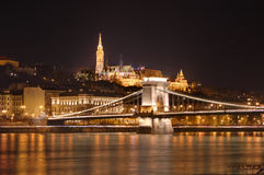 Hungary, Budapest, Chain bridge and Fisherman's Bastion - night picture royalty free stock images
