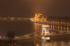 Hungary, Budapest, Chain bridge and  Hungarian Parliament Building - night picture Royalty Free Stock Photo