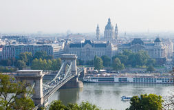 Hungary, Budapest, Chain Bridge and St Stephen Basilica Royalty Free Stock Photo