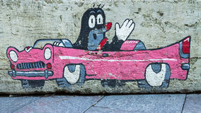 HUNGARY, BUDAPEST: JANUARY 10. Graffiti Of The Animated Character  Mole  On A Wall In Budapest On January 10, 2014. A Mole (in Th Stock Photo