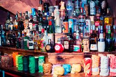 Alcoholic drinks, a lot of bottles in the bar. Party at night stock images
