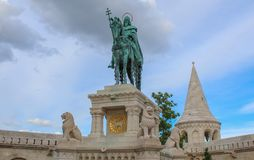 Hungary; Budapest; May 13, 2018; A bronze statue of king St. Stephen I of Hungary in the Buda Castle.  stock photo