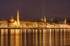 Hungary, Budapest by night - reflections in Danube river stock photo