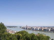 Hungary, Budapest, River Danube. Hungary, Budapest, Gellert Hill overlooking River Danube, elevated view Stock Photo