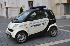 Hungary: SMART Police Car on Budapest streets Stock Photography