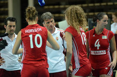 Hungary - Bulgaria volleyball game Royalty Free Stock Images