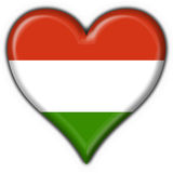 Hungary button flag heart shape Stock Photography