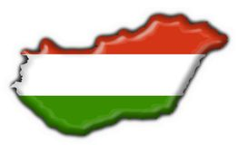 Hungary button flag map shape Stock Photo