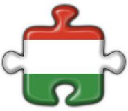 Hungary button flag puzzle shape Royalty Free Stock Photos