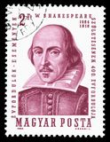 Hungary cancelled postage stamp showing a portrait image of William Shakespeare Royalty Free Stock Photos