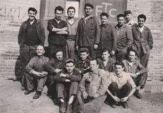 HUNGARY, CIRCA 1950 Factory Workers Group Photo Usine, Industry. DT00080 royalty free stock image
