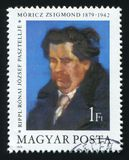 HUNGARY - CIRCA 1979: A post stamp printed in Hungary shows a painting of Zsigmond Moricz by Jozsef Ripple-Ronai, circa 1979 stock image