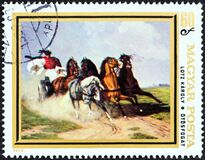 HUNGARY - CIRCA 1979: A stamp printed in Hungary from the `Animal Paintings` issue shows Coach and Five Karoly Lotz, circa 1979.