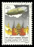 Holsten Tor Lubeck. Hungary - circa 1981: Stamp printed by Hungary, Color edition on topic of  Aeronautics, shows Holsten Tor Lubeck, circa 1981 Royalty Free Stock Photo