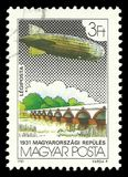 Nine Arch Bridge Hortobagy. Hungary - circa 1981: Stamp printed by Hungary, Color edition on topic of  Aeronautics, shows Nine Arch Bridge Hortobagy, circa 1981 Royalty Free Stock Image