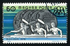 HUNGARY - CIRCA 1976 A stamp printed in Hungary shows Olympic medal with the inscription Montreal, circa 1976 Royalty Free Stock Image