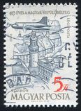 Plane over Tower of Sopron. HUNGARY - CIRCA 1958: stamp printed by Hungary, shows Plane over Tower of Sopron, circa 1958 Royalty Free Stock Image