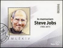 HUNGARY - 2011: shows portrait of Steve Jobs 1955-2011. HUNGARY - CIRCA 2011: A stamp printed in Hungary shows portrait of Steve Jobs 1955-2011, circa 2011 royalty free stock images