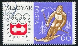 Slalom. HUNGARY - CIRCA 1963: stamp printed by Hungary, shows slalom, circa 1963 Royalty Free Stock Images
