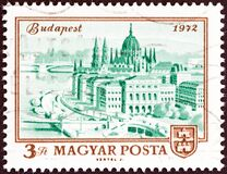 HUNGARY - CIRCA 1972: A stamp printed in Hungary shows Parliament Building, Budapest, circa 1972.
