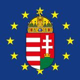 Hungary coat of arms on the European Union flag stock photos