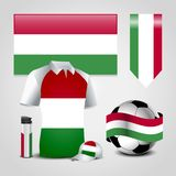 Hungary Country Flag place on T-Shirt, Lighter, Soccer Ball, Football and Sports Hat stock illustration