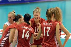 Hungary - Czech Republic volleyball game Stock Photos