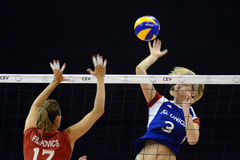 Hungary - Czech Republic volleyball game Royalty Free Stock Photography