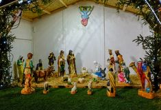 Nativity Scene in a Christmas from Budapest. Adoration of the three wise men to baby Jesus royalty free stock photo