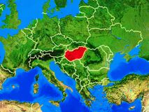 Hungary on Earth with borders. Hungary from space on model of planet Earth with country borders and very detailed planet surface. 3D illustration. Elements of stock image