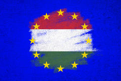 Hungary and Eu grunge flag background Royalty Free Stock Photos