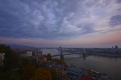Hungary.  Evening panorama of Budapest at sunset. Royalty Free Stock Images