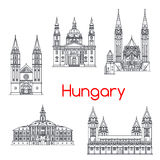 Hungary famous architecture vector landmark icons. Hungary landmarks architecture and Hungarian famous buildings. Vector isolated icons and facades of Szeget Stock Images