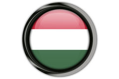 Hungary flag in the button pin Isolated on White Background Stock Photos