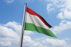 Hungary Flag with Clouds Stock Photos