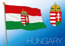 Hungary flag with coat of arms. Hungarian flag with coat of arms, European country, vector illustration Stock Photography